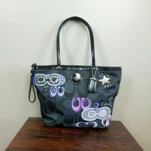 Coach Signature Applique Tote Graffiti Handbag